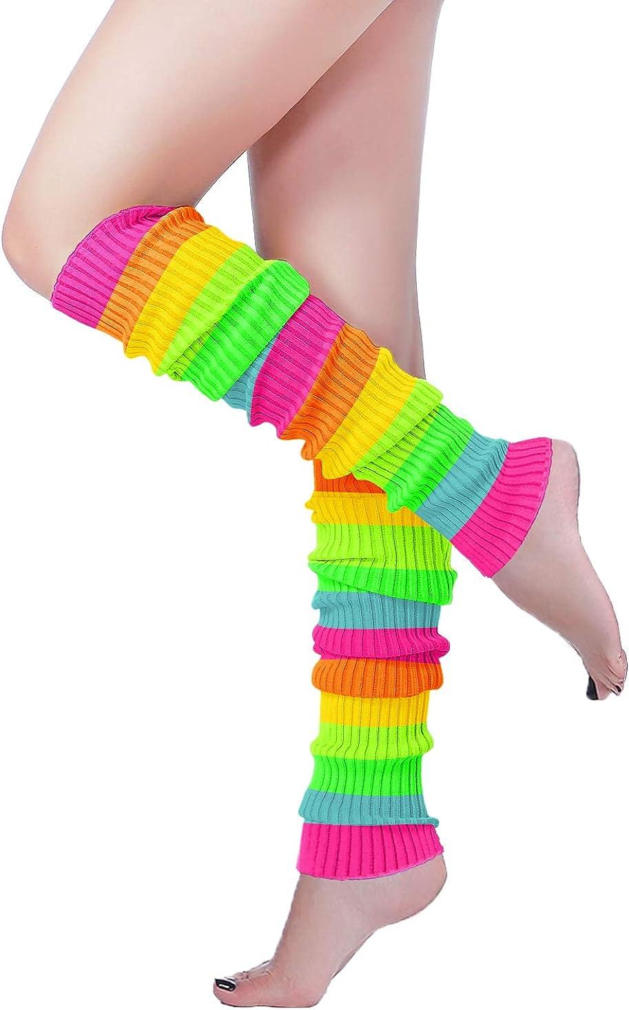 Long Leg Warmer, V28 Women's Men 80s Party Ribbed Knit Dance Sports