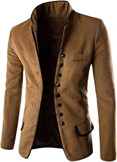 Abetteric Mens Single Breasted Solid Colored Stand Up Collar Blazer Jacket