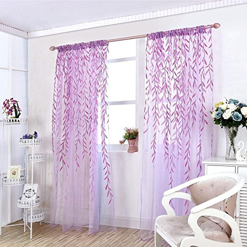 ICYANG Unilateral Willow Tulle Room Window Curtain Drape Panel Sheer Valances, 78.6 x 39.3 Inch, Purple