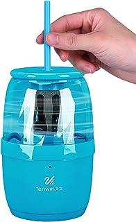 Bestgift - Sacapuntas eléctrico para niños y oficinas (con cancelación de ruido, antideslizante), color azul