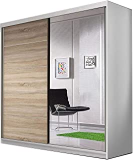 E-MEUBLES Armoire de Chambre avec 2 Portes coulissantes | Penderie (Tringle) avec étagères (LxHxP): 183x218x61 TESS BIS03 ...