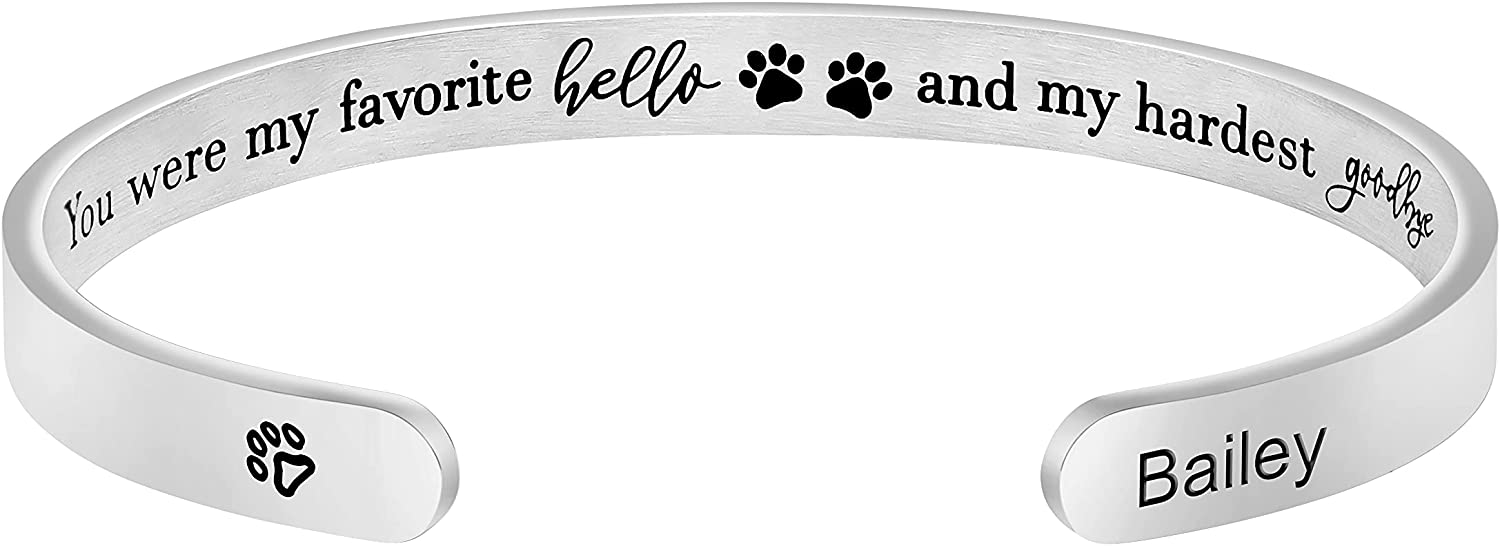Remembrance Bracelet Personalized Custom Pet Name Cuff Customized Unique Sympathy Loss Jewelry Gift for Women Girls Engraved You Were My Favorite Hello and My Hardest Goodbye