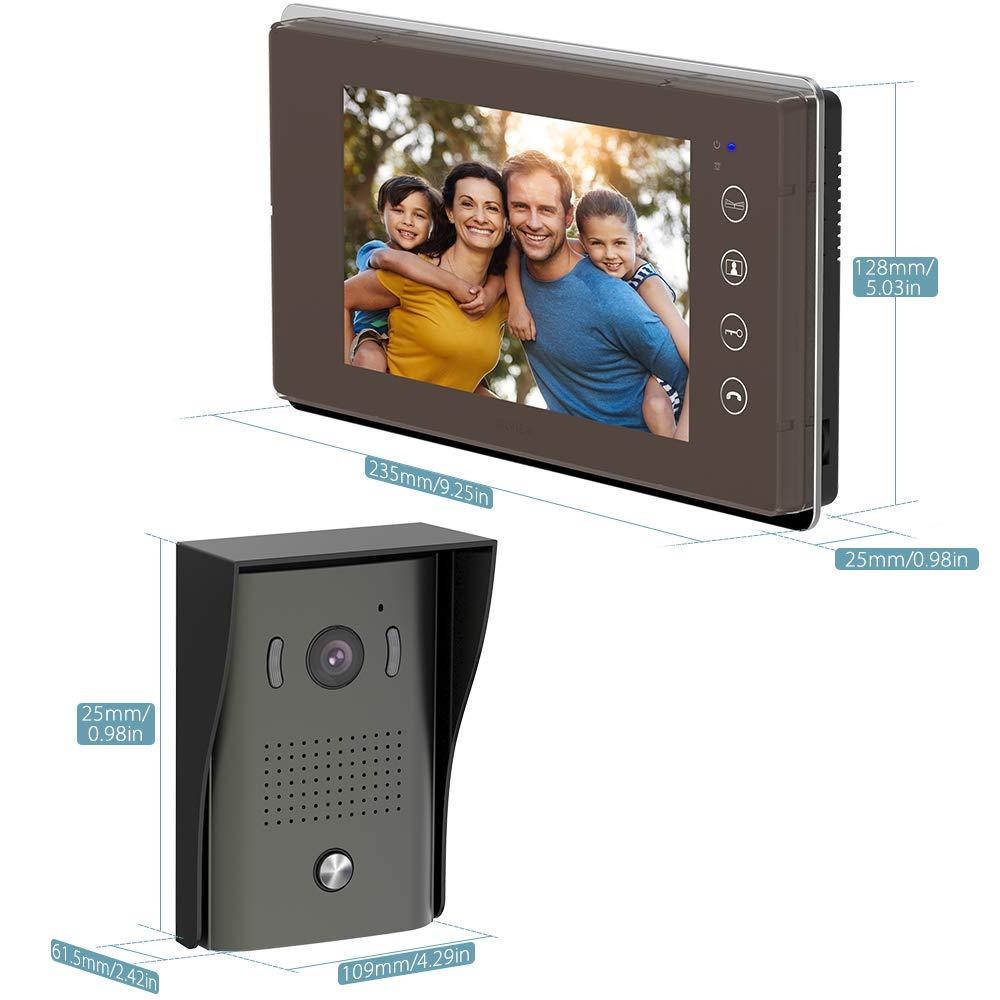 7 pulgadas sistema de intercomunicaci/ón de video por cable con c/ámara de visi/ón nocturna y 2 monitores LCD y 16 campanas//tarjeta SD TILVIEW timbre de video videoportero impermeable