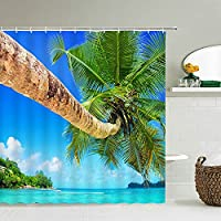ビーチシーパームツリーシャワーカーテン風景防水3Dバスルームカーテンフック付きホームデコレーションウォッシャブルバススクリーンW90xH180cmAa