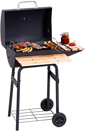 Heat Resistant Black Steel Storage Shelf Side Table Portable Trolley Barrel Adjustable Height Cooking Grill and Warming Shelf HomeZone/® Large Premium BBQ Charcoal Smoker