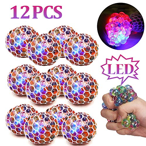 ZGWJ 12 Pack Anti-Stress Ball LED Mesh Squeeze Ball Toys Home and Office Use Stress Relief Toys for...