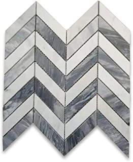 Carrara White & Bardiglio Gray Italian Marble 1x3 Chevron Mosaic Tile Honed