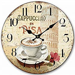 HQF Italian Style Wall Clock, Eruner 14 Stylish Office Wall Clock Classy Kitchen Clock Wooden Mottled Effect Living Room Lounge Silent Clock Hallway Timepiece Watch