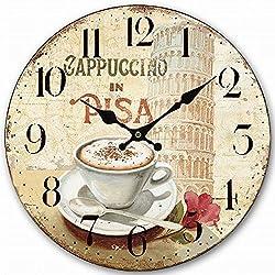 HQF Italian Style Wall Clock, Eruner 14 Stylish Office Wall Clock Classy Kitchen Clock Wooden Mottled Effect Living Room Lounge Silent Clock Hallway Timepiece Watch