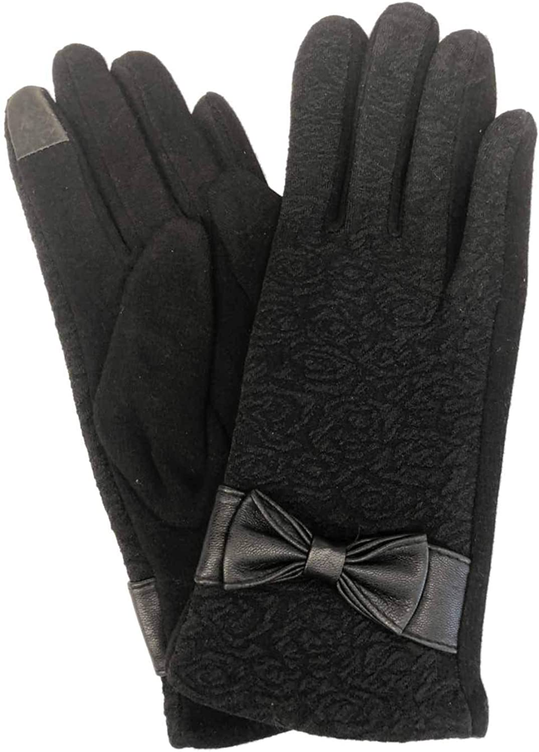 Womens Black Floral Rose Stretch Fit Texting & Tech Touchscreen Gloves