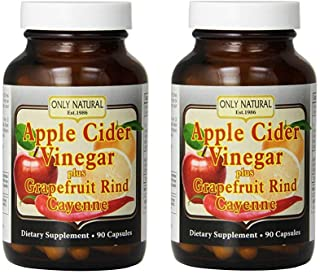 Only Natural Apple Cider Vinegar Plus Grapefruit Rind Cayenne Capsules, 90-Count (Pack of 2)