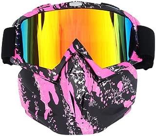 YSYYSH Goggle Retro Helmet Visor Removable Module Filter Masks Cross-Country Goggles, Pink