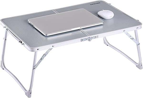 Foldable Laptop Table Superjare Bed Desk Breakfast Serving Bed Tray Portable Mini Picnic Table Ultra Lightweight Folds In Half With Inner Storage Space Gray