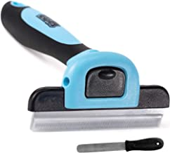 Gorilla Grip Premium Dog and Cat Grooming Brush and File, Pet Deshedding Tool, Effectively Reduces Shedding, Slip Resistant Handle, Quick Release Comb, Safe, Gentle Long or Short Hair Remover, Blue