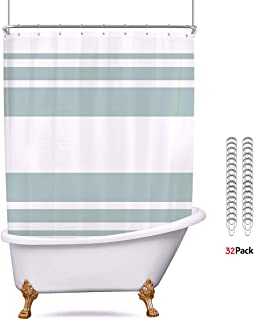 Riyidecor Polyester Fabric Clawfoot Tub Shower Curtain 180x70 Inch White All Wrap Around Decor Panel Set Waterproof Green Striped with 32 Pack Metal Shower Hooks