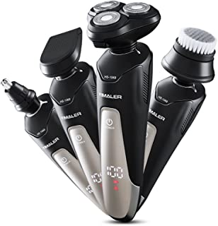 Electric Shaver Razor for Men, Yimaler 4 in 1 Beard Trimmer Wet Dry Shaver Cordless Waterproof Portable Travel Rechargeable USB Fast Charging for Nose Hair Face Cleaning Best Gift
