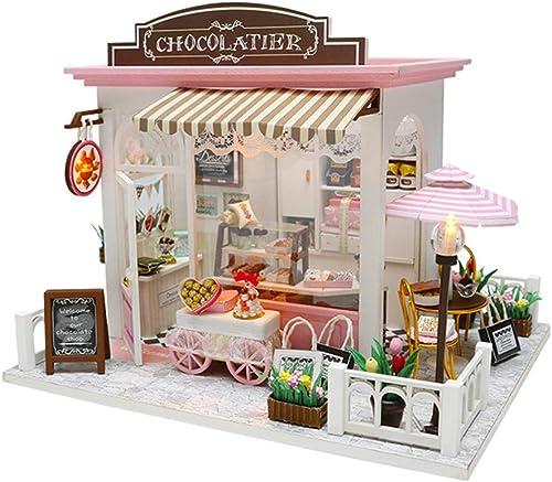 Kit de maison de poupée miniature Maison de bricolage Villa Des idées créatives se couvrent Assemblage hommeuel Modèle de jouet en bois cadeau d'anniversaire Maison de poupées en bois avec meubles et ac