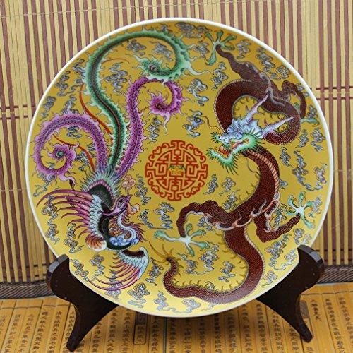 LH Porcelaine Antique Porcelaine Antique Pastels Bleus Et Blancs Dynasties Ming Et Qing Porcelaine Antique Plaque Dragon Et Phénix Assiette Porcelaine,A