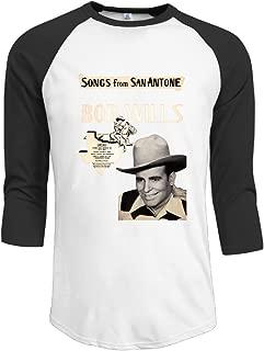 Mens Bob Wills & His Texas Playboys 100% Cotton 3/4 Sleeve Athletic Raglan Sleeves T-Shirt