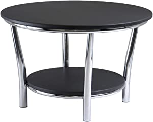Winsome Wood Maya Round Coffee Table, Black Top, Metal Legs