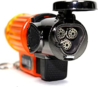 Unishow ® Orange Transparent Triple Jet Flames Refillable Butane Torch Lighter with Hands Free Flame Lock - 3 1/4 Inch Height - Very Powerful! W/ a FREE Velvet Unishow® Pouch (size:3.5'' W x 6.5'' L)!