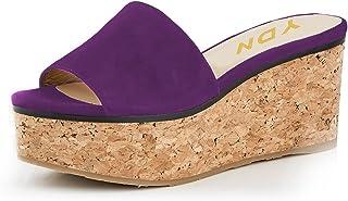 afdb528efd3 YDN Women Comfy Peep Toe Platform Wedge Sandals Slip on Mules Cork High Heels  Shoes