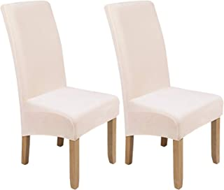 Best Colorxy Large Velvet Spandex Chair Covers for Dining Room Set of 2, Soft Stretch Chair Protectors Slipcovers, Removable and Washable, Ecru Review