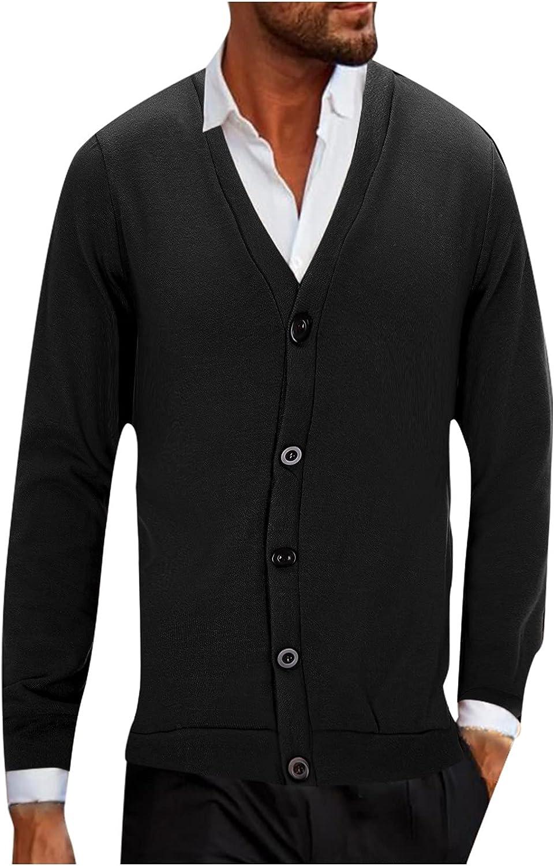 FORUU Mens Winter Coats 2021 Fall Winter Jacket Solid Button Casual Fleece Jacket Loose Oversized Knit Cardigan Sweater