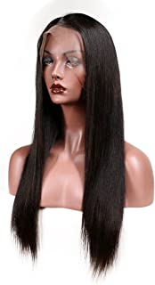 KeLang Brazilian Virgin Human Hair Lace Front Wigs for Black Women Long Straight Pre Plucked Glueless Human Hair Wigs With Baby Hair And Bleached knots 130% Density Natural Black color (Lace Front 20)