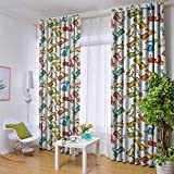 Andrea Sam Thermal Curtains Motorcycle,Famous Moped Bikes in Cartoon Style Retro Italian Scooters, Multicolor,W42 by L84 Inch Blackout Window Curtain Panels
