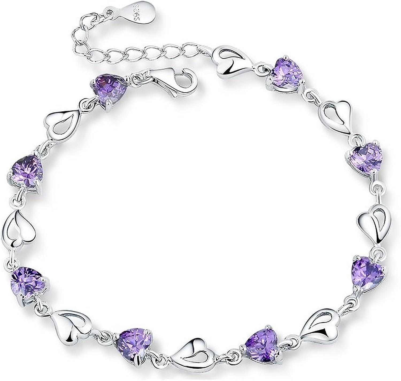 Sterling Silver Multiple Hearts Link Chain Bracelet, Adjustable,