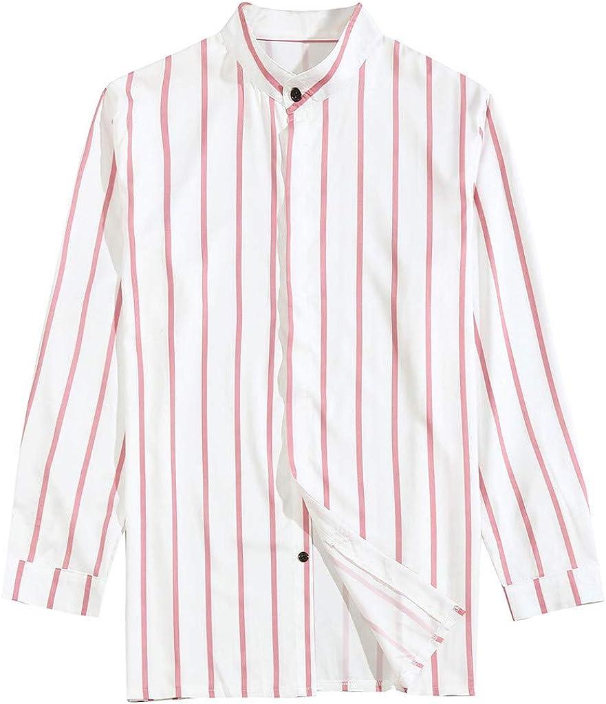 MODOQO Men's Long Sleeve Stripe Dress Shirts Business Button Down Formal Shirts