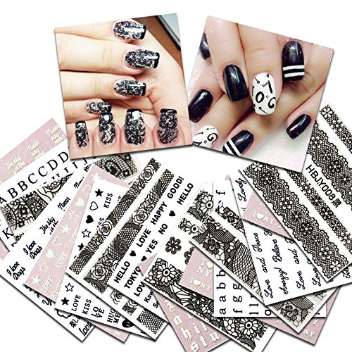 KADS 36pcs/Set Nail Decals Lace&Letters Design Nail Art Water Stickers Beauty Nail Decorations Tool