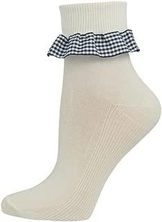 Soxsmith 6 Pairs Big Girls' Gingham Frill White Cotton Ankle Socks - UK Made