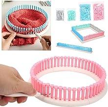 Juego de telar de tejer redondo/cuadrado/largo, herramienta de kit de artesanía completa con aguja de tejer/ganchillo de punto/columna de tejer Kit de telar de tejido multifunción para bufanda de somb