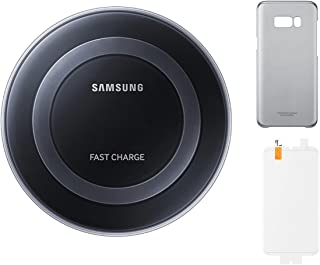 三星蓋樂世 S8+ 基礎套件 - 三星 Qi 認證快速充電無線墊帶透明蘭花灰色外殼和防刮屏幕保護膜 - 零售包裝