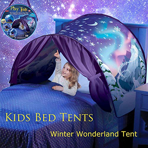 elebaby Deluxe Kids Bed Tent Winter Wonderland & Space &Unicorn Funny Play Tent Pop-up Tent Indoor Foldable Playhouse Bedroom Decoration with Storage Bag Birthday for Kids