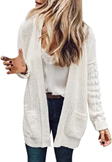Gallity Autumn Women's Cardigan Long Sleeve Cardigan Tops Sweater Coat with Pocket (XL, White)