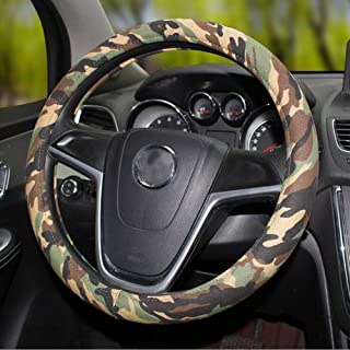 Mayco Bell Universally Calssic Camouflage Flax Car Steering Wheel Covers 15 inch 38CM Camo Steering Wheels Case (Dark Green)
