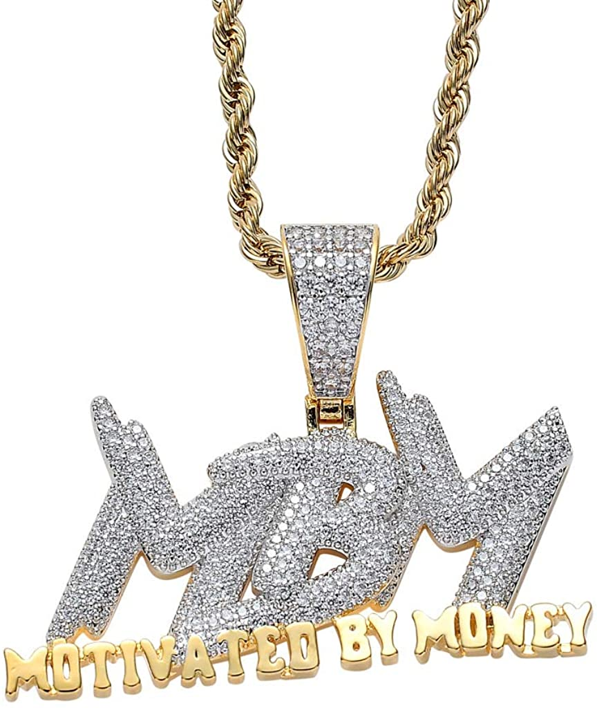 Iced Out Zircon Letter Motivated by Money Pendant Necklace Two Tone Plated Micro Paved Lab Diamond Bling Hip Hop Jewelry