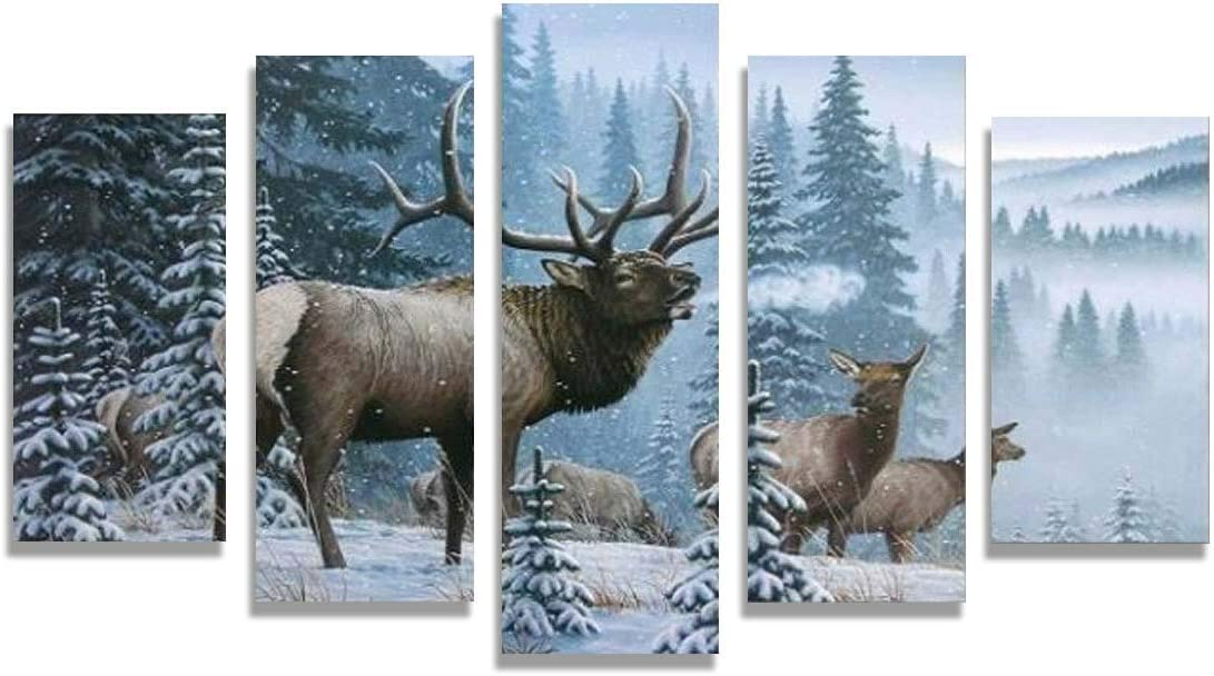 Lowest price challenge Home Decor Pictures Classic Frame HD Printed I Piece Elk 5 Canvas Family