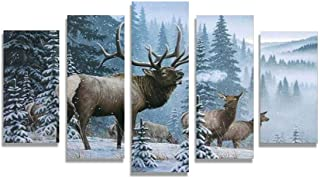 Home Decor Pictures Frame HD Printed Canvas 5 Piece Elk Family In Snow Pine Tree Landscape Painting Fashion Deer Poster Wall Art,40x60 40x80 40x100cm,Frame