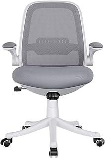 Silla de Escritorio Silla de Oficina Silla de oficina ergonómica con apoyabrazos abatible, respaldo medio, malla, ajustable, silla giratoria para escritorio de oficina para oficina en casa - Gris