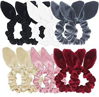 Pack of 12 Bunny Ear Hair Scrunchies Velvet Scrunchy Bobbles Elastic Hair Bands (Popular Mix Colors)