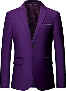 OUYE Men's 2 Button Solid Single Breasted Suit Jacket