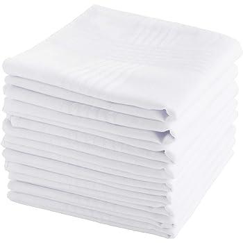 12 Pcs White Cotton Men Handkerchiefs Hanky Pocket Square Hankie Lot Set X9B7H