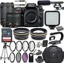 Nikon D7500 20.9 MP DSLR Camera Video Kit with AF-P 18-55mm VR Lens & AF-P 70-300mm ED VR Lens + LED Light + 32GB Memory + Filters + Macros + Deluxe Bag + Professional Accessories