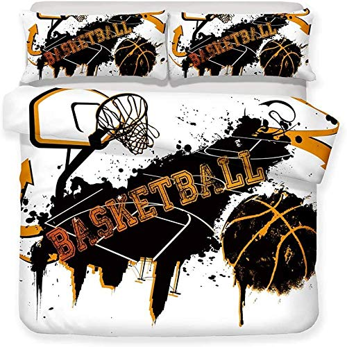 BH-JJSMGS Bedding duvet cover, cool sports basketball pattern, polyester microfiber soft zipper easy to manage single double king bed basketball stand Single-135x200cm