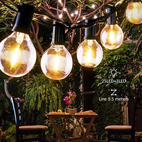 Etmury Lichterkette Außen,Lichterkette Glühbirnen Wasserdichte G40 9.5M 25 Birnen mit 3 Ersatzbirnen Lichterkette Glühbirnen Aussen Dekoration für Garten, Hochzeit Party,Weihnachten - Warmweiß