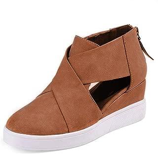 Xiakolaka Wedge Sneakers for Women Criss Cross Hidden Heel Wedge Shoes